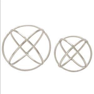 Metallic Nickel-Plated Geometric Orb Sculptures, 2